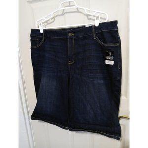 Dark Wash Stretch ST JOHNS BAY Denim Shorts 24W